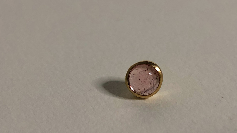 Round Pink Tourmaline | single stud | 18k