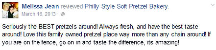 Philly Style Soft Pretzel Bakery rave reviews