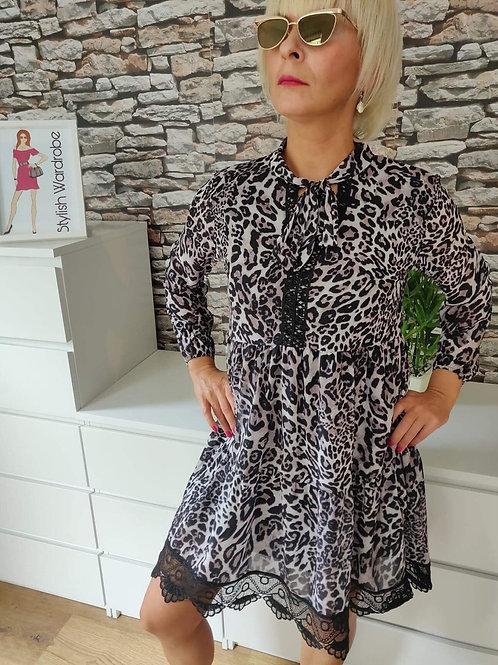 Lace Detail Leopard Print Dress