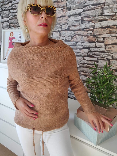 Boat Neck Sweater Brown