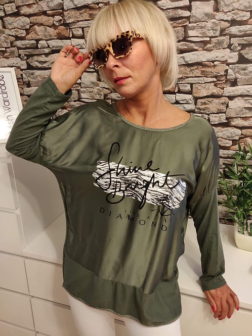 Shine bright L/S Top Khaki