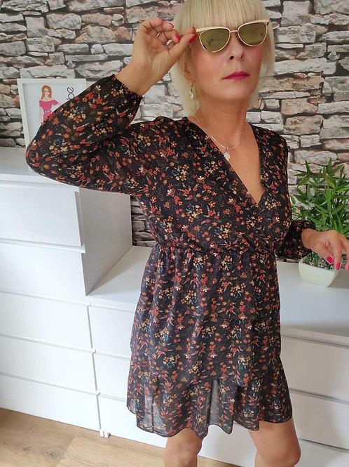Brown  flowery patterned dress