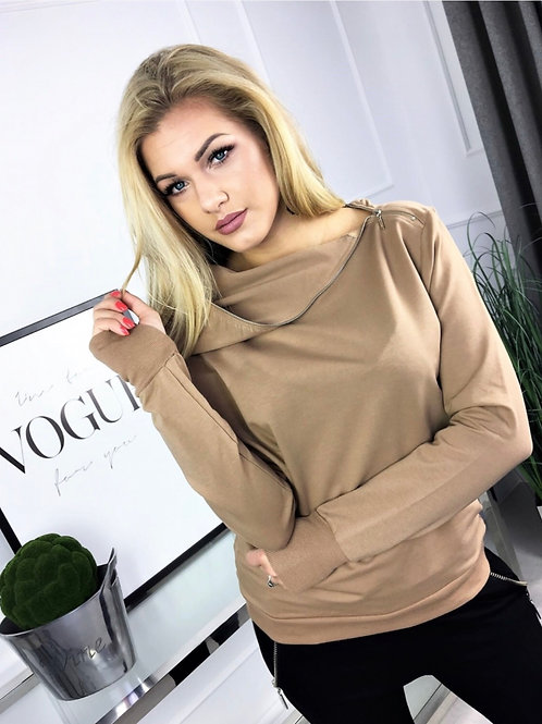 Sweatshirt With Asymmetrical , Decorative Hood