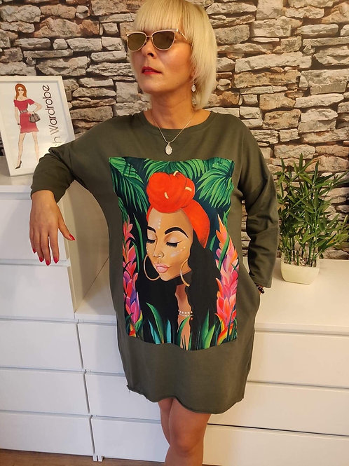 Face Dress Khaki