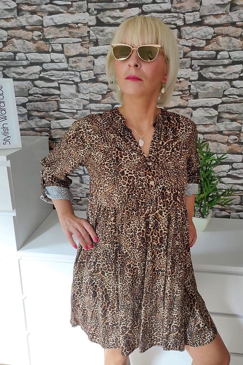 Part-buttoned leopard print dress