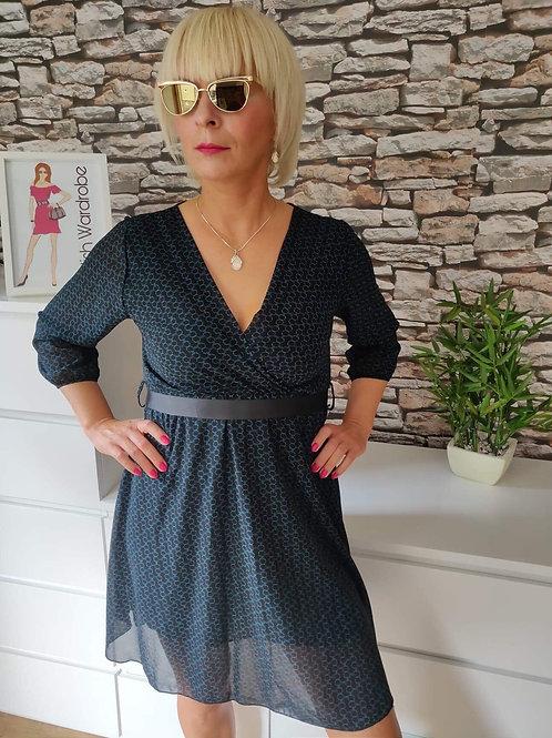 Dark Blue Patterned Dress