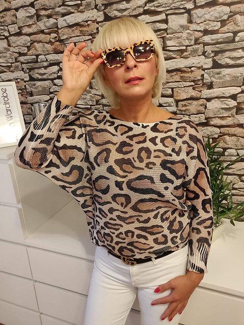Illustrated Sweater Leopard Print