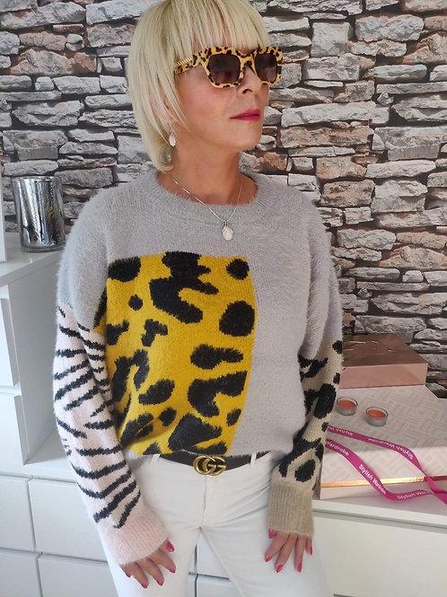 Fluffy Sweater Grey/Animal Print