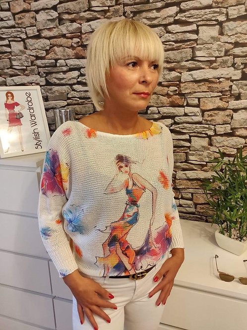 Illustrated Sweater Painted Woman