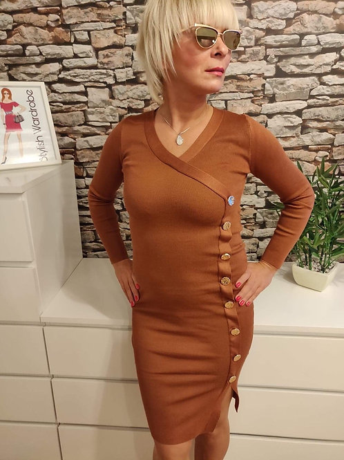 Side Button Dress Brown
