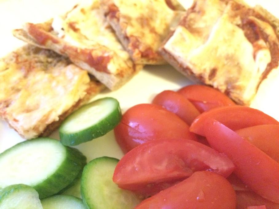 פיצה- פיתה טבעונית