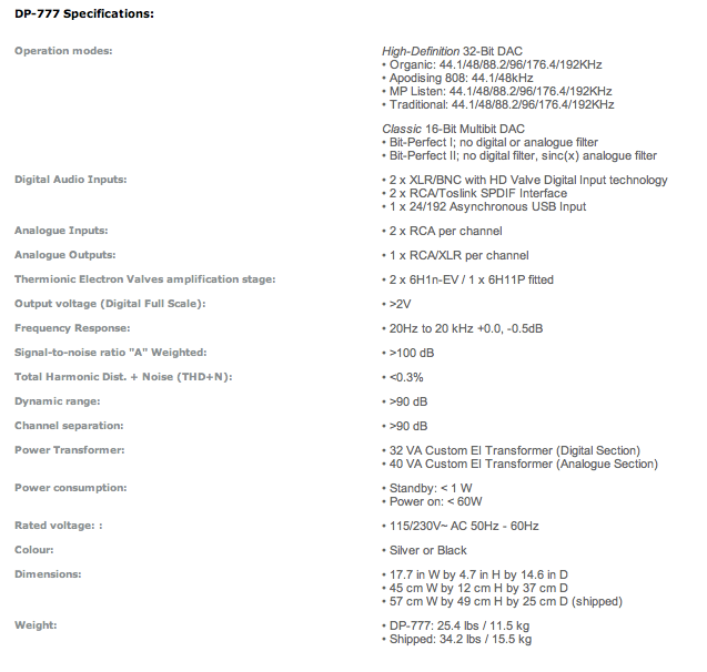 AMR DP-777 Specifications