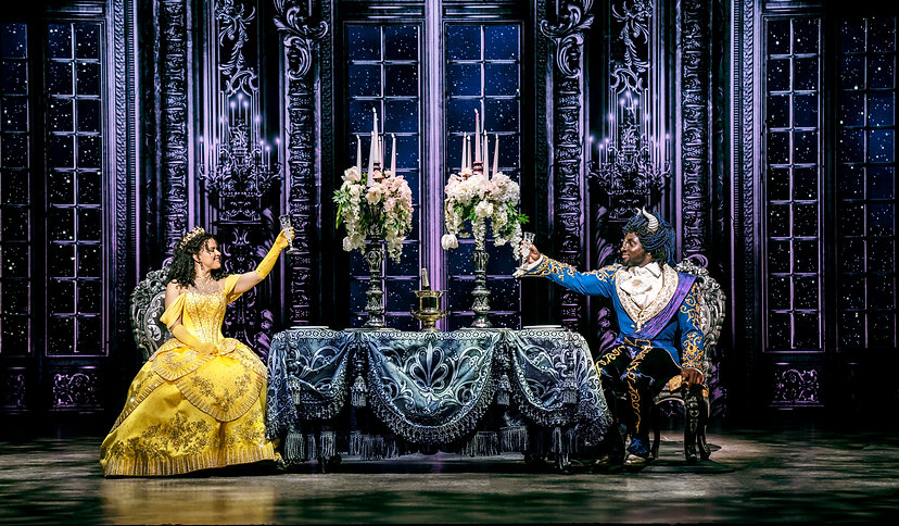Courtney Stapleton as Belle and Emmanuel Kojo as Beast in Disney's Beauty and the Beast -