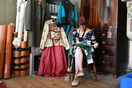Volunteers costume making at Tyntesfield