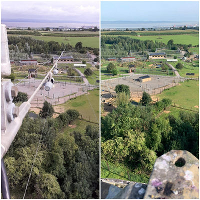 Bird's eye view comparison of before and after conductor removal, Noah's Ark Zoo Farm - Da