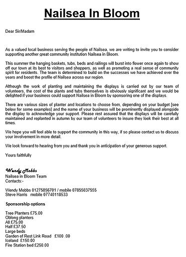 Nailsea In Bloom sponsorship letter.png