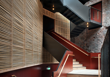Staircase from foyer to auditorium, Bris