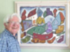 Adrian Webb with Doris Hatt 1965 paintin