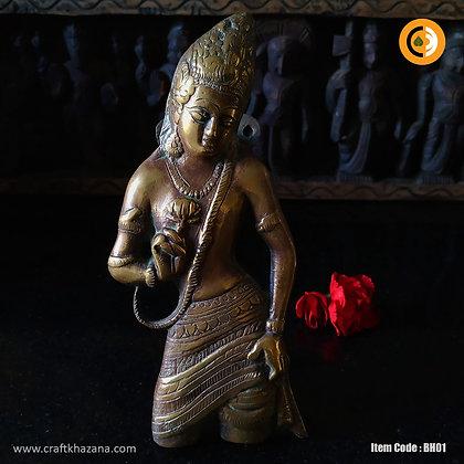Bodhisattva, brass door handle in antique finish