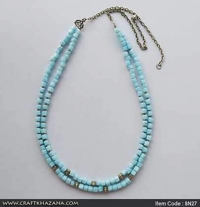 Punam, light blue and silver tone beaded double layer necklace