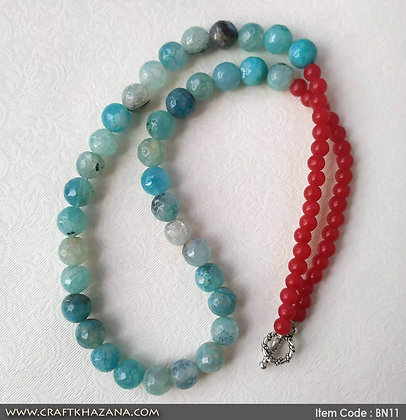 Bimala. blue and red tone agates necklace