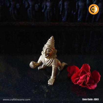 Baby Krishna brass idol