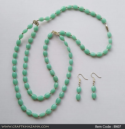 Erica, turquoise and silver tone double layer necklace set