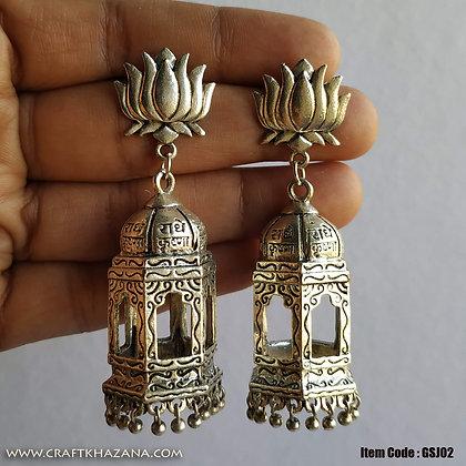 Lazmi, lotus and radhe krishna chatri pattern jhumka