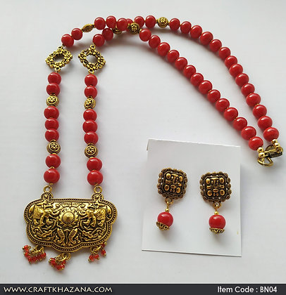 Joyce, red and gold long beaded necklace set