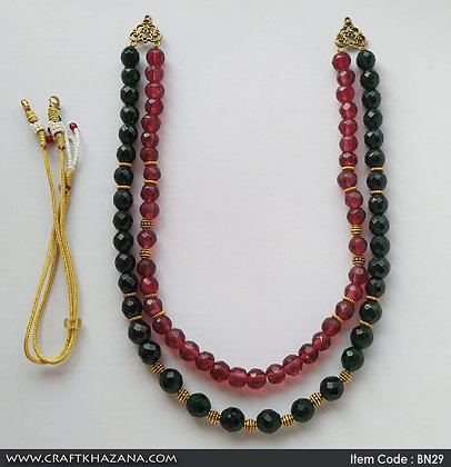 Madhumalati, green, pink and gold tone double layer beaded necklace