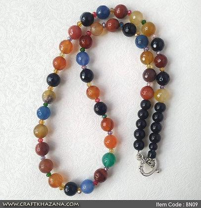 Ekta, multi color agates beaded necklace