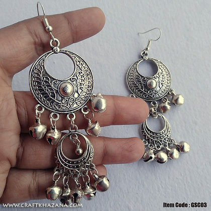 Manisha, oxidised silver double chandbali earrings with ghungaroo