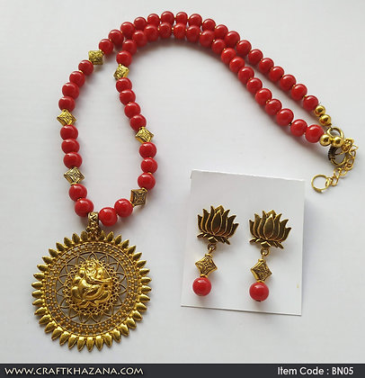 Miguel, red and gold beaded necklace set with ganesh pendant