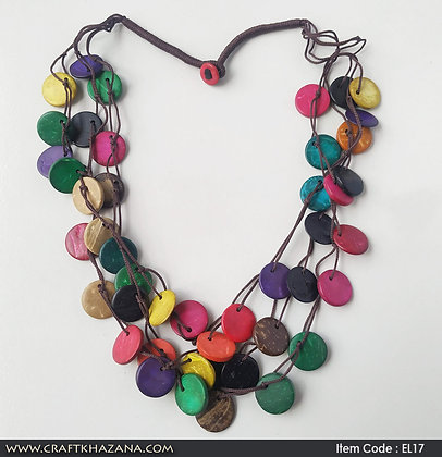 Rainbow, multi color button fashion necklace