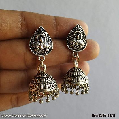 Lalitya, german silver small size jhumka