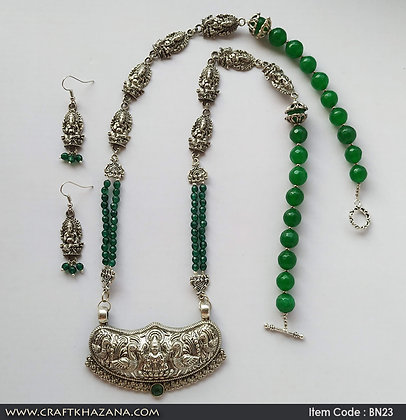 Gauri, green agates GS necklace with Lakshmi pendant and Ganesh earrings