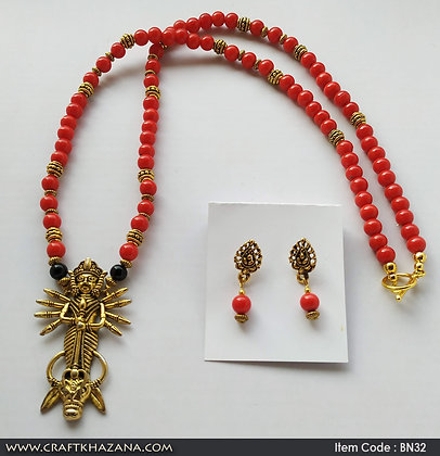 Amogha, red and gold beaded necklace set with durga pendant