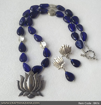Ira, royal blue and silver beaded necklace set with lotus pendant