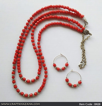Yashti, red and silver double layer long beaded necklace set
