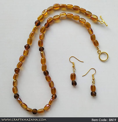 Ankal, brown beaded choker necklace set