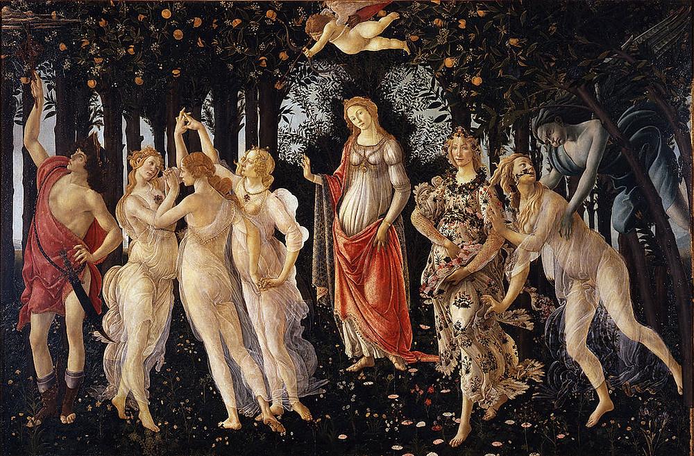 """סנדרו בוטיצ'לי, פרימוורה, 1478, טמפרה על עץ, 203X314 ס""""מ, גלריית אופיצ'י, פירנצה"""