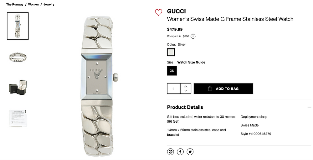 GUCCI Women's Swiss Made G Frame Stainless Steel Watch  $479.99