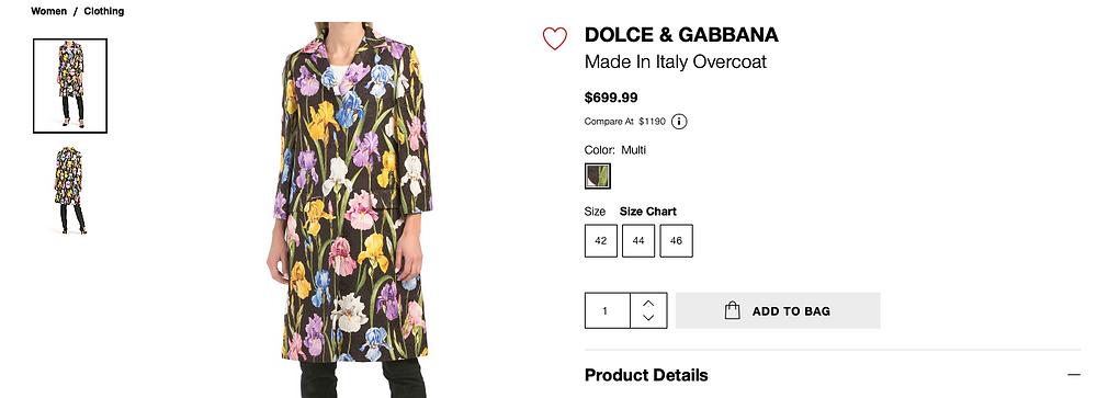DOLCE & GABBANA Made In Italy Overcoat  $699.99