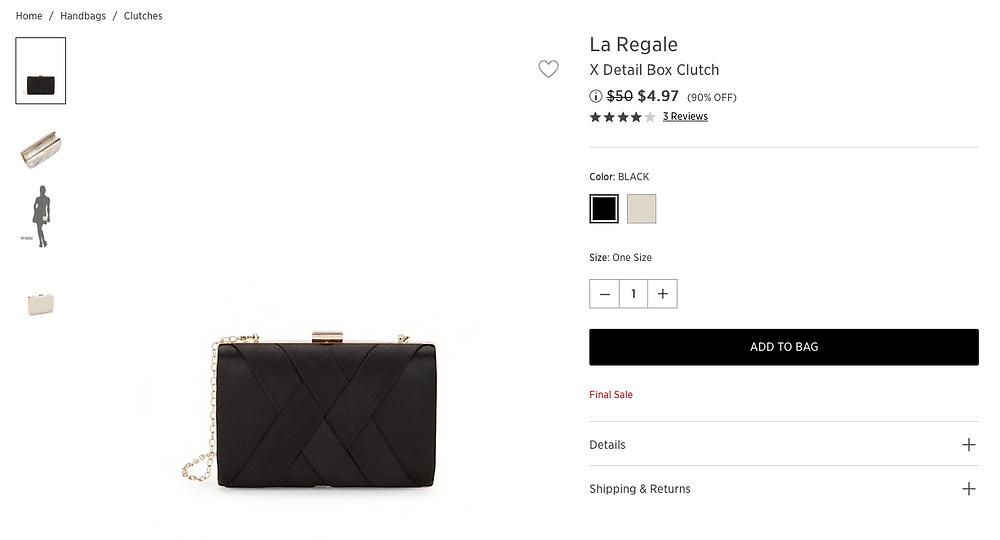 La Regale X Detail Box Clutch $4.97 (90% OFF)