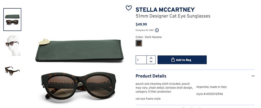 STELLA MCCARTNEY 51mm Designer Cat Eye Sunglasses  $49.99