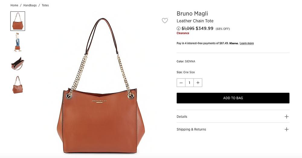 Bruno Magli Leather Chain Tote  $349.99 (68% OFF)