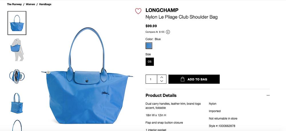 LONGCHAMP Nylon Le Pliage Club Shoulder Bag