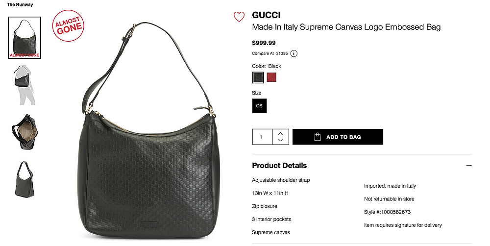GUCCI Made In Italy Supreme Canvas Logo Embossed Bag  $999.99