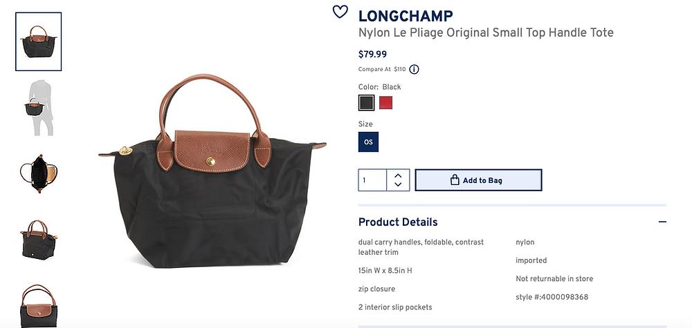 LONGCHAMP Nylon Le Pliage Original Small Top Handle Tote  $79.99