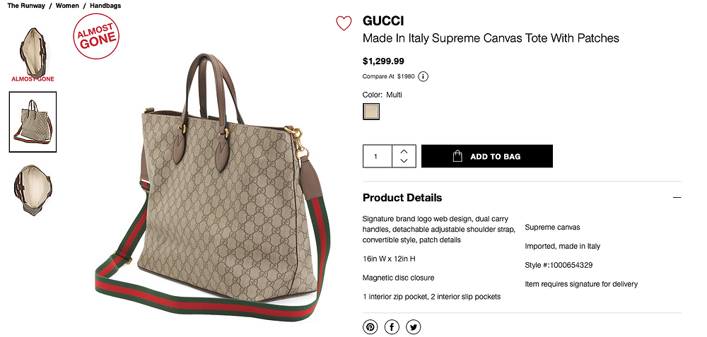 GUCCI Made In Italy Supreme Canvas Tote With Patches  $1,299.99 Compare At  $1980